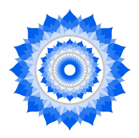 crown chakra: abstract blue mandala of Vishuddha chakra vector on white Illustration