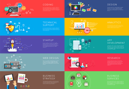 coding: business and development templates vector