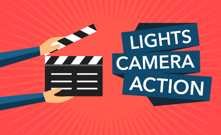 camera: clapper flat background vector Illustration