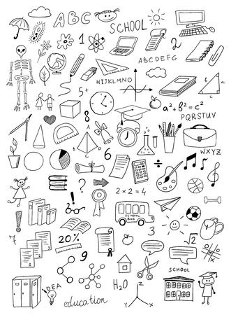 calendario escolar: mano conjunto de vectores educaci�n dibujado