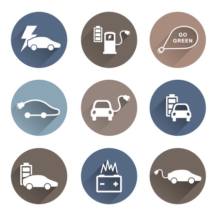 electric cars: electric cars icons vector