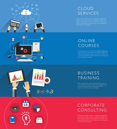 training device: flat business training templates vector Illustration