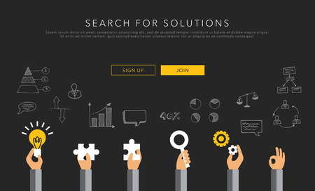 business solution: flat vector template search for solutions Illustration
