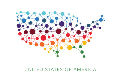connections: dotted texture USA vector background Illustration