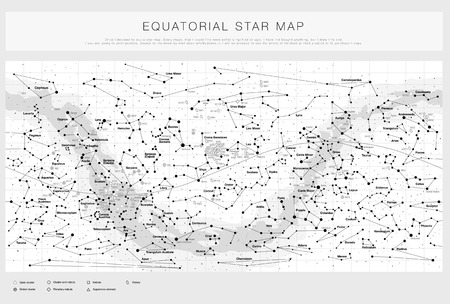 High detailed star map with names of stars contellations and Messier objects black and white vector Ilustração