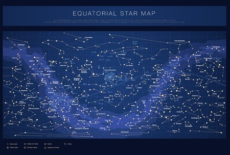 colour chart: High detailed star map with names of stars contellations and Messier objects colored vector Illustration