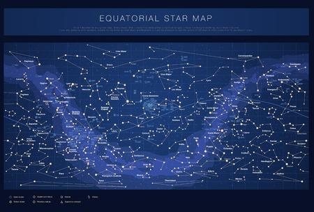 Wysokie szczegółowe gwiazda mapa z nazwami gwiazdkowych contellations i obiektów z katalogu Messiera kolorowe wektora