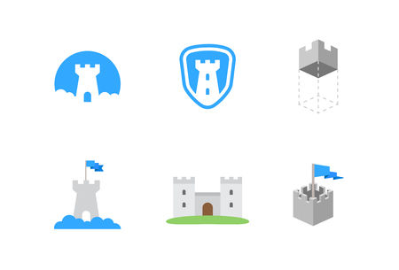 construction companies: castles flat vector symbols for branding