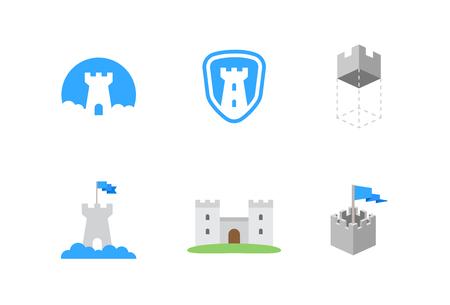 trustworthy: castles flat vector symbols for branding