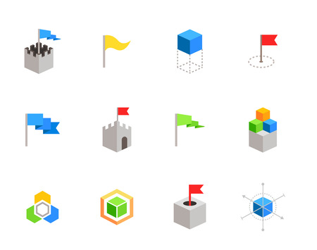 defensive: castles and cubes flat vector symbols for branding