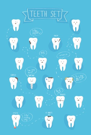 dirty teeth: teeth emotions vector set on blue background