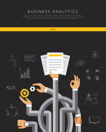 consulting services: Business analytics flat template, vector on black