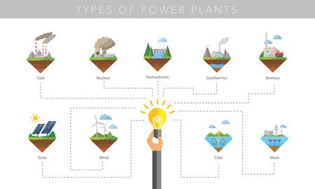 energia electrica: Central eléctrica símbolo de conjunto de iconos vectoriales en blanco Vectores