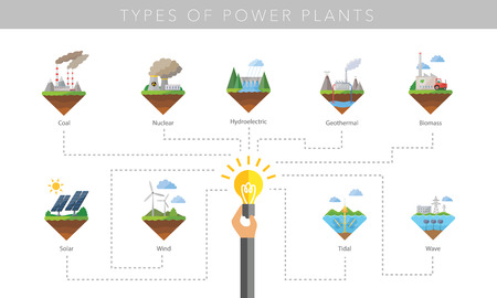 factory power generation: Power plant icon vector symbol set on white