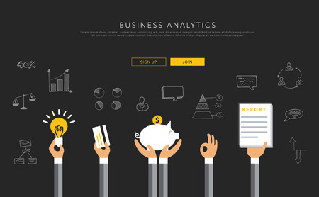 consulting business: Business analytics flat template, vector on black