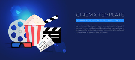 film: cinema template background, lens flare, vector on blue