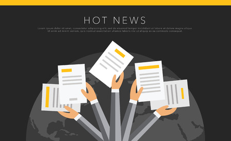 palm of hand: Hot news vector template background on black Illustration