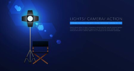 video camera: cinema template background, lens flare, vector on blue