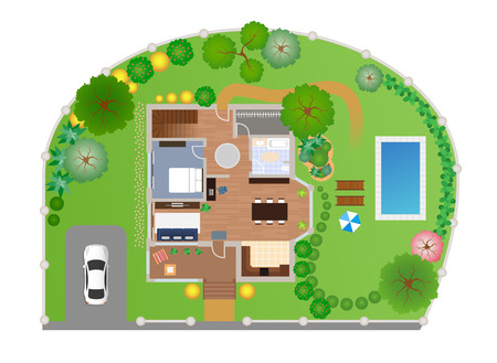estate planning: House with garden layout, vector, view from above