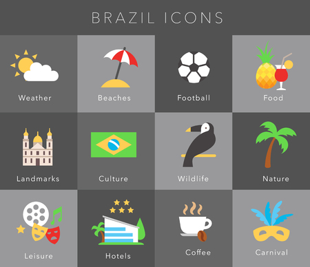 guidebook: Flat icons Brazil, vector set on grey