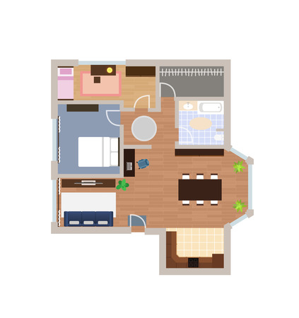 Flat project with furniture, vector, view from above