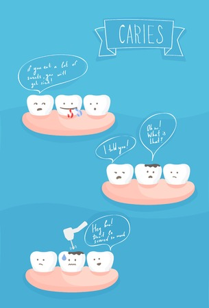 diente caries: teeth comics about the cause of tooth decay, vector on blue