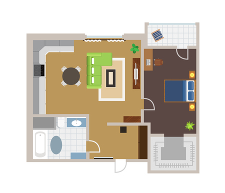 furniture: Flat project with furniture, vector, view from above