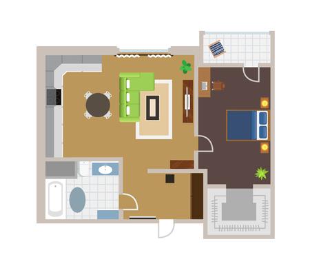 vista desde arriba: Proyecto Piso con muebles, vector, ver desde arriba