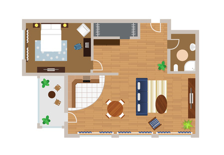 schematically: Flat project with furniture, vector, view from above