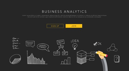 business solution: Business analytics flat template, vector on black
