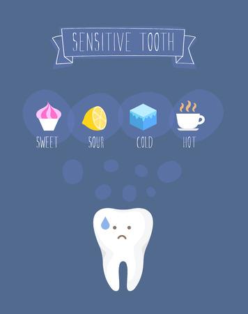 Sensitive tooth flat vector illustration on blue  イラスト・ベクター素材