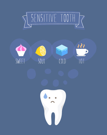 Sensitive tooth flat vector illustration on blue Çizim