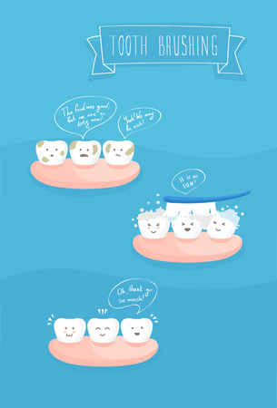 dentist: teeth comics about brushing, vector on blue