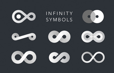 mobius symbol: infinity monochrome symbols vector set on black Illustration