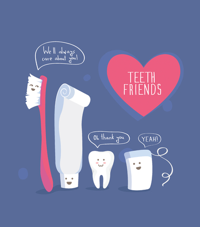 dientes sanos: Dientes amigos, saludable estilo de vida del vector en azul Vectores