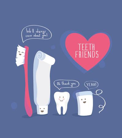 Teeth friends, healthy lifestyle vector on blue