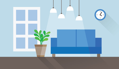 blue living room interior flat vector illustration Stock Illustratie