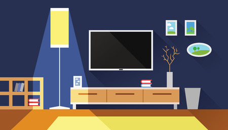 blue living room interior flat vector illustration Illustration