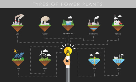 dam: Power plant icon vector symbol set on black