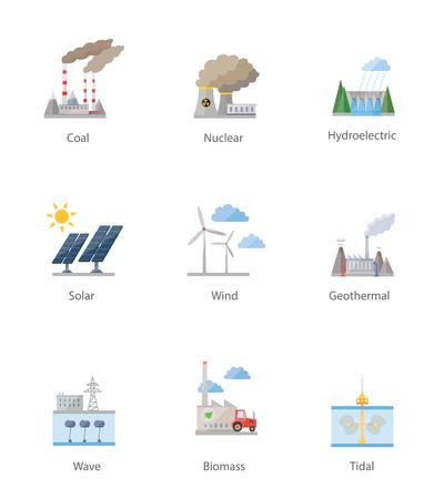 energia electrica: Central el�ctrica s�mbolo de conjunto de iconos vectoriales en blanco Vectores