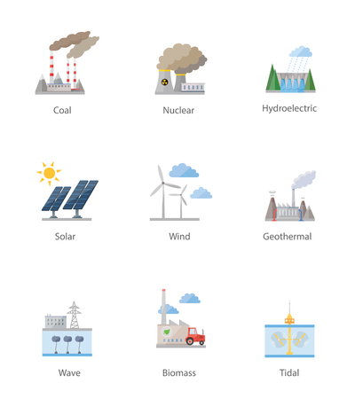 hydro electric: Power plant icon vector symbol set on white
