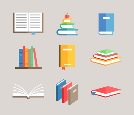 shelf with books: flat book symbols vector set