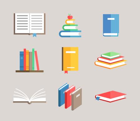 libro: libro plana conjunto de símbolos del vector