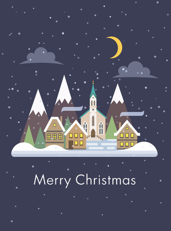 christmas poster: Christmas card with night snowy cityscape flat vector