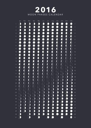 moon phases: 2016 moon phases calendar vector Illustration