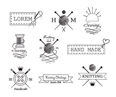 coser: De tejer y coser vector establecer etiquetas