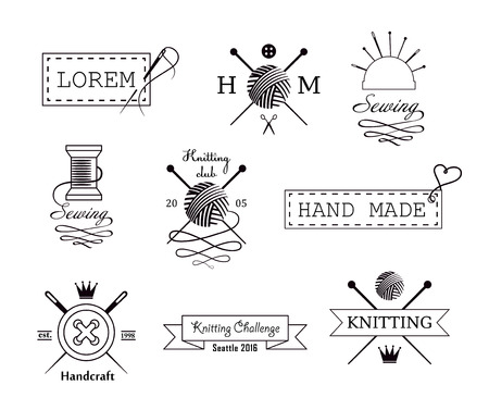 knitting: Knitting and sewing vector labels set