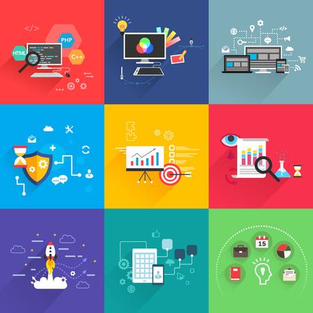 icono computadora: negocio y plantillas de desarrollo de vectores