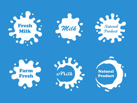 milk drop: Milk splash vector set