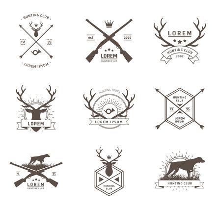 perro de caza: Vector conjunto de etiquetas de caza en blanco